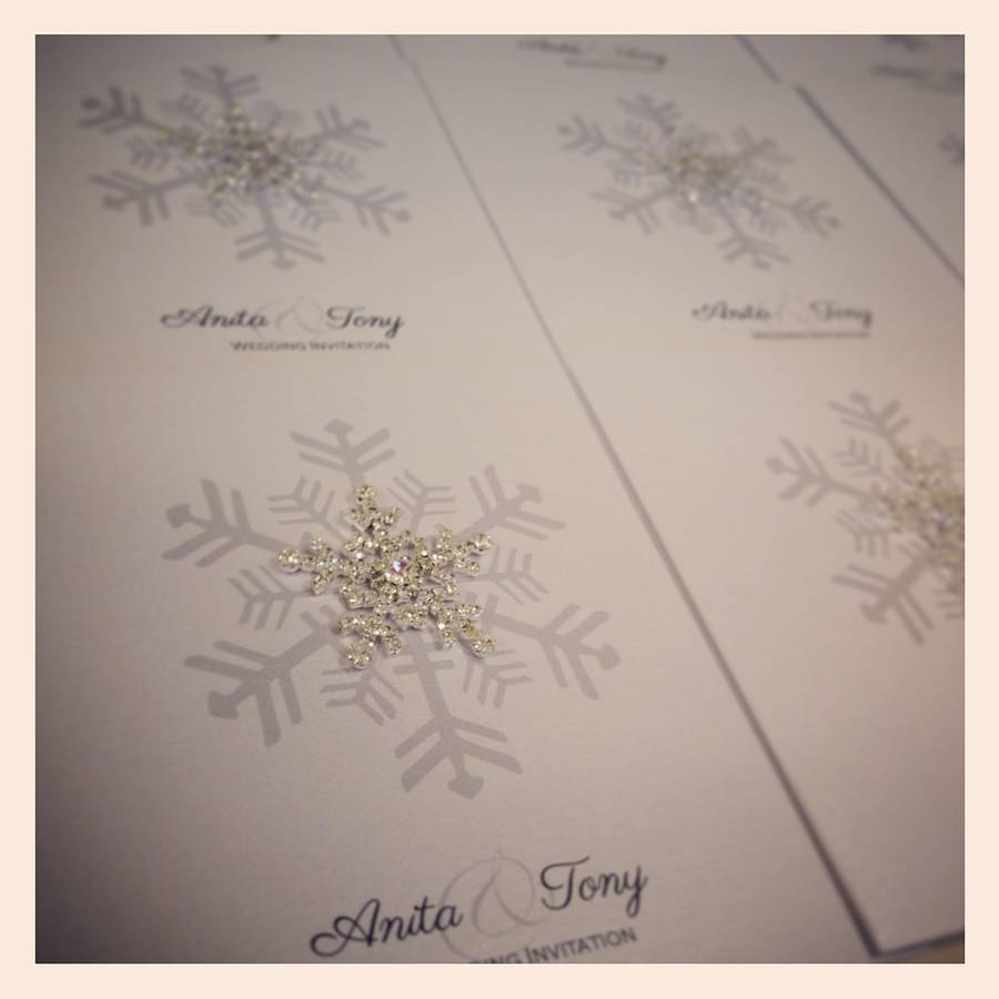 Crystal Snowflake Wedding Invitation Made With Love Designs