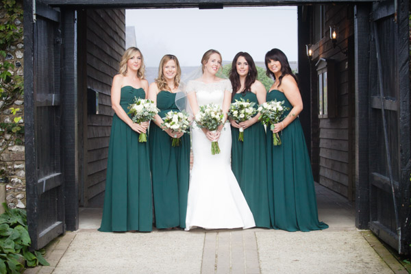 Upwaltham Barns Wedding Fitzgerald Photographic Winter Bridesmaids In Teal