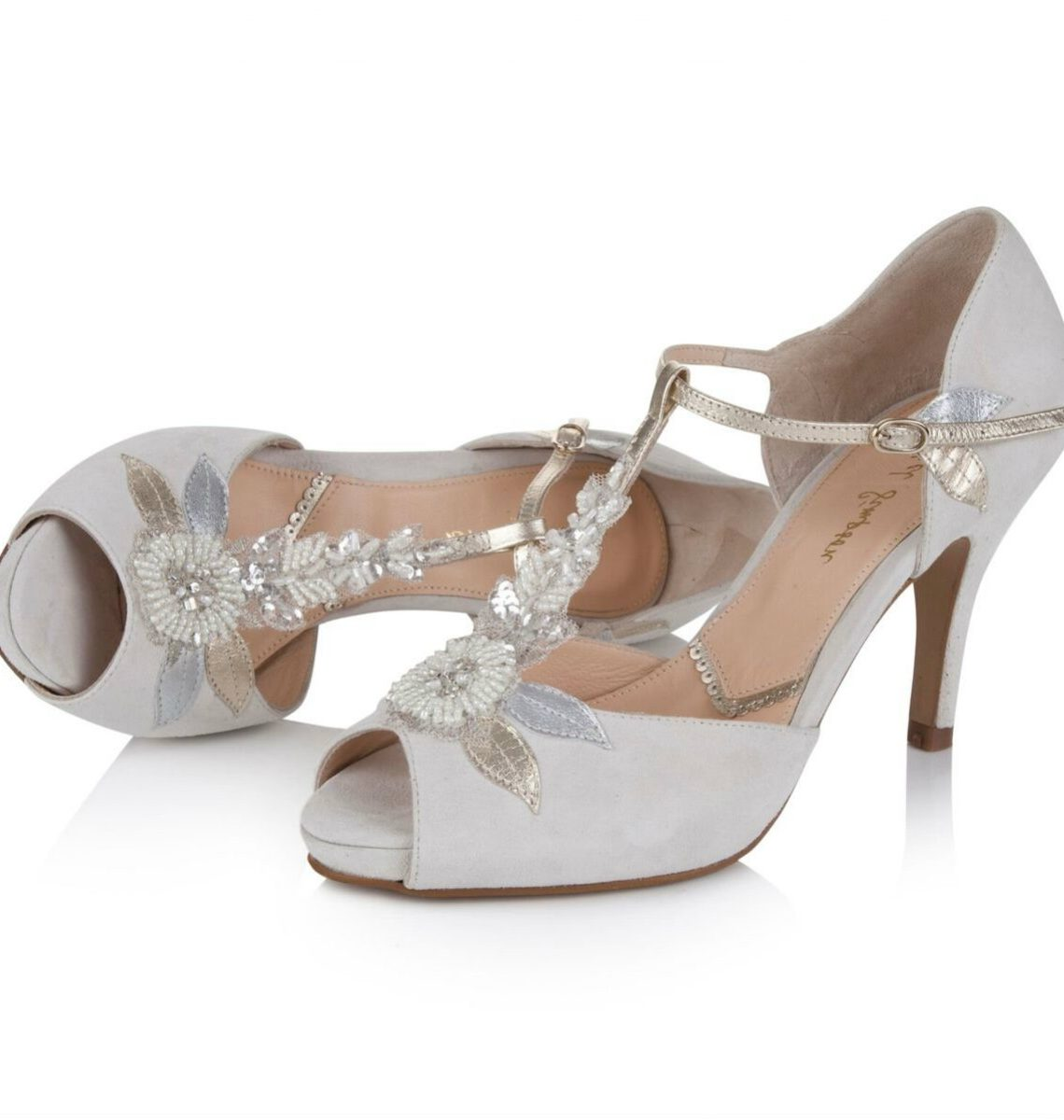 Hermione By Rachel Simpson Ivory Suede Embellished T Bar Vintage Designer Wedding Or Occasion Shoes